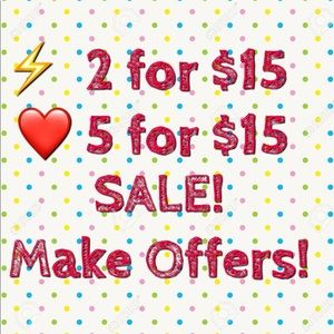⚡️2 for $15 & ❤️ 5 for $15 SALE! Bundle and SAVE!